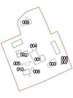Pianta dell'area con la distribuzione e numerazione dei fabbricati
