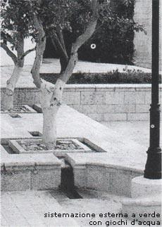 Esempio di pavimentazione e materiali: sistemazione esterna a verde con giochi d'acqua