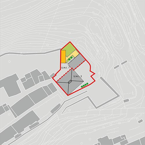 Planimetria dell'area, scala 1:1000